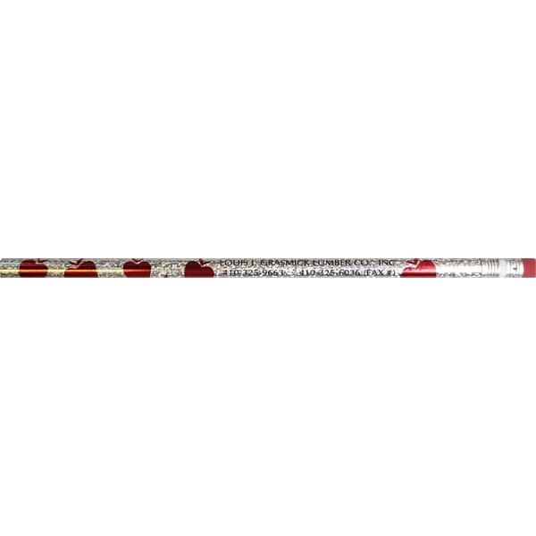 Apple twinkler, round #2 pencil, eraser, screen printed
