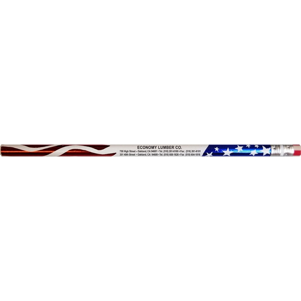 Patriotic flag, round #2 pencil, eraser, screen printed