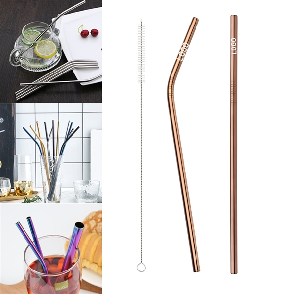 215mm Reusable Stainless Steel Straw With Brush