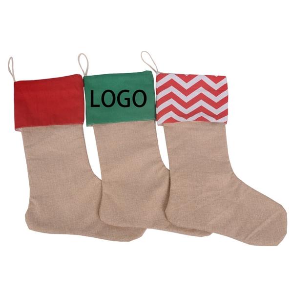 Mixed Linen And Hemp Christmas Stocking