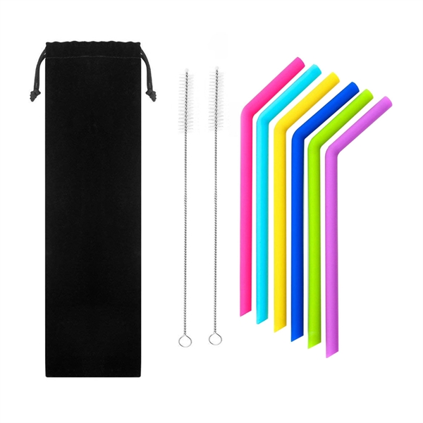 8 in 1 Silicone Drinking Bend Straw with Cleaning Brush