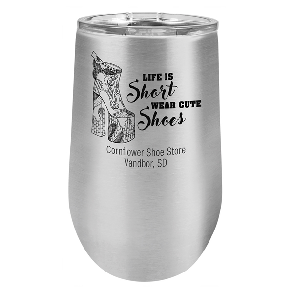 16 Oz. Vacuum Insulated Stemless Tumbler With Lid