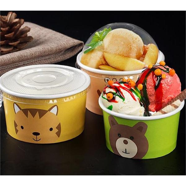 Paper Ice Cream Frozen Yogurt Cups With Lids