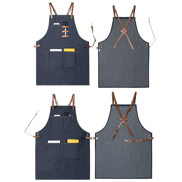 Premium Denim Apron with Cross-back Leather Straps