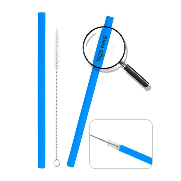 Reusable Silicone Straight Straws With Clearing Brush