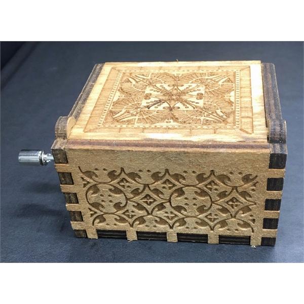 Wood Music Box With Hand Crank