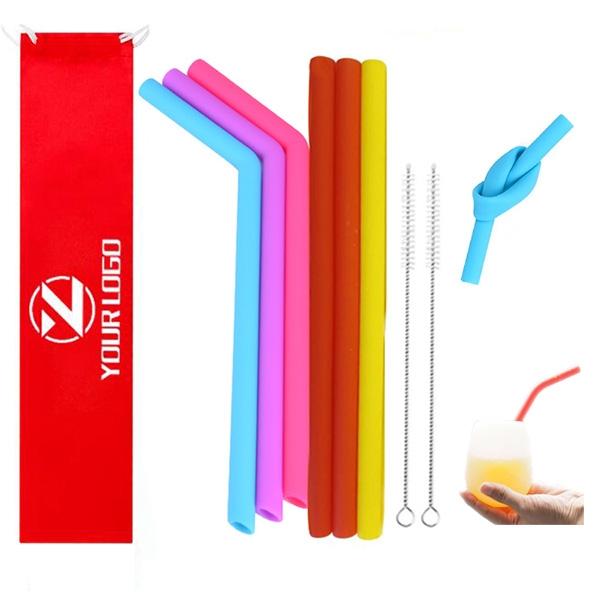Portable Silicone Drinking Straws Set