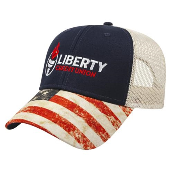 Sublimated Flag Visor Cap with Mesh Back