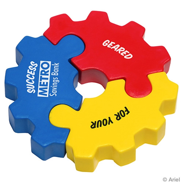 3 Piece Gear Puzzle Set Stress Reliever - Gear puzzle set shaped stress reliever.