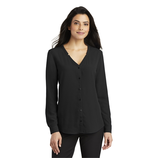 Port Authority Ladies Long Sleeve Button-Front Blouse.