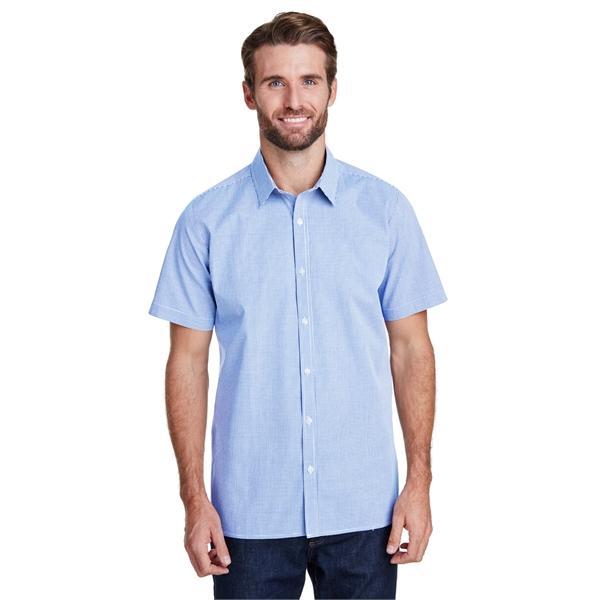 Mens Microcheck Gingham Short-Sleeve Cotton Shirt