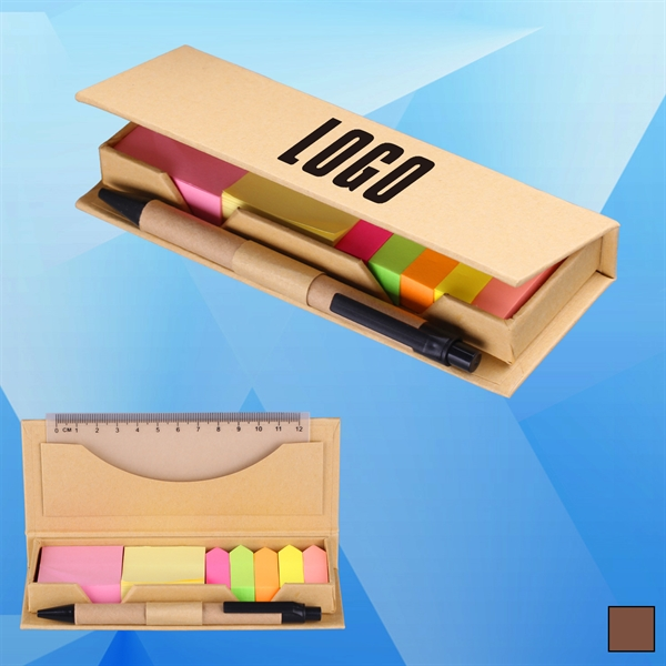 Sticky Note Desk Set with Ruler and Ballpoint Pen