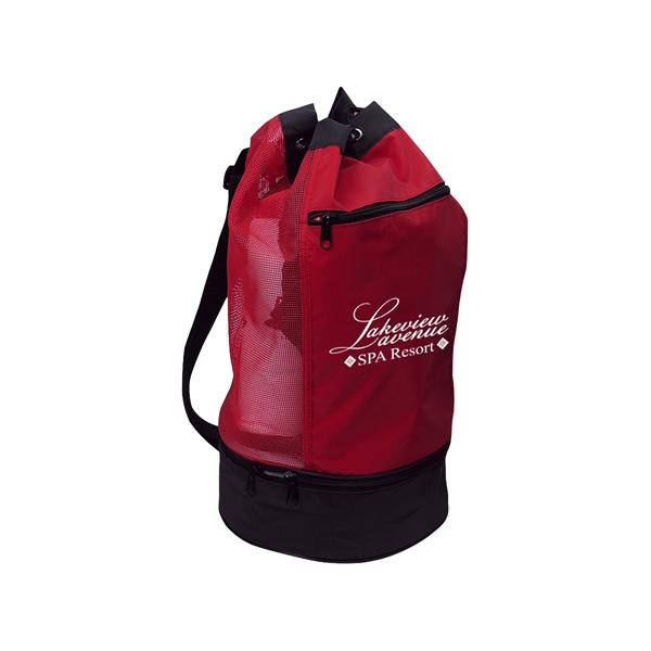 Beach Bag With Insulated Lower Compartment - Beach bag with insulated lower compartment and outside front zippered pocket.