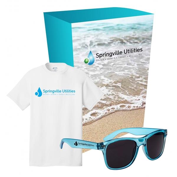Port & Company® - Tee & Sunglasses Combo With Custom Box