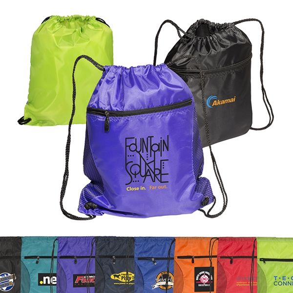 Mesh Accent Drawstring Backpack
