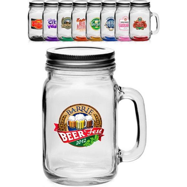 16 oz. Libbey® Handle Mason Jars with Li