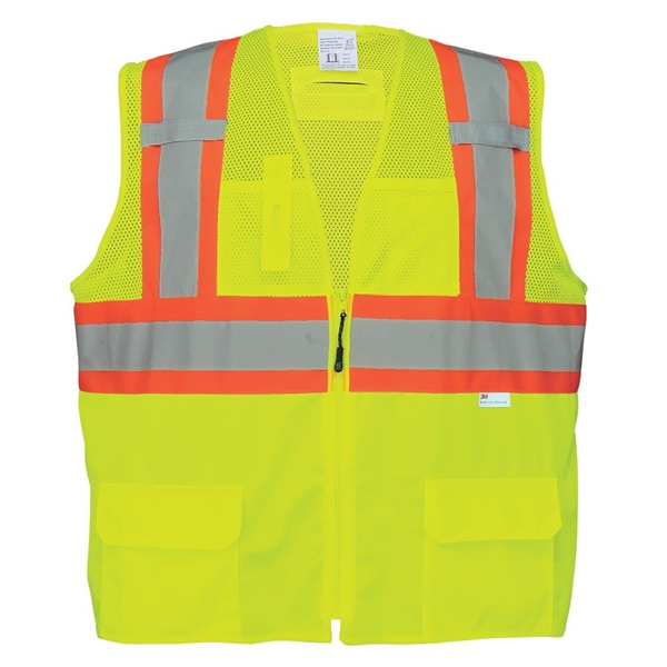 High-Visibility Solid and Mesh Polyester Surveyors Safety Ve