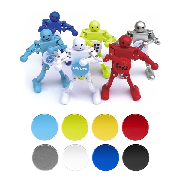 Wind Up Bots - Dancing Mini Robots with Spinning Logo