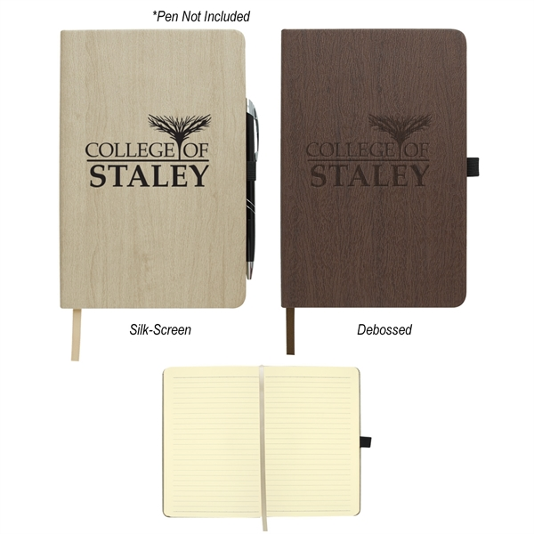 "5"" x 8"" Woodgrain Look Notebook"