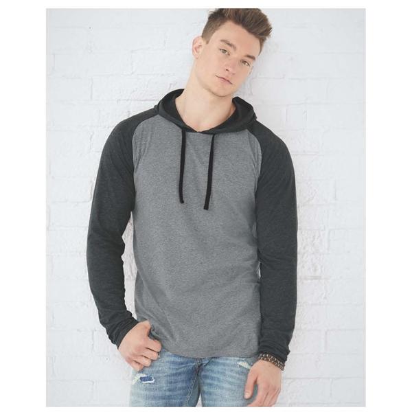 Men's Hooded Raglan Long Sleeve Fine Jersey Tee