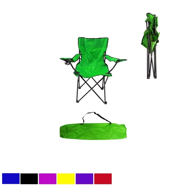 Colorful Folding Beach Chair with Cup Holder and Carry Bag