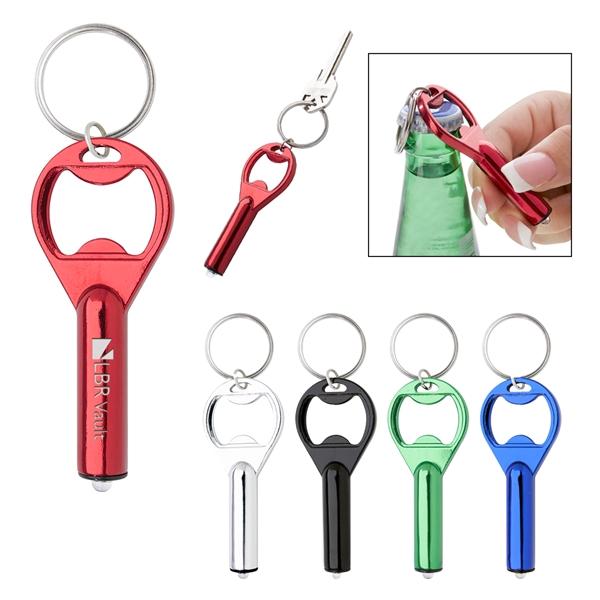 LED Aluminum Key Tag With Bottle Opener