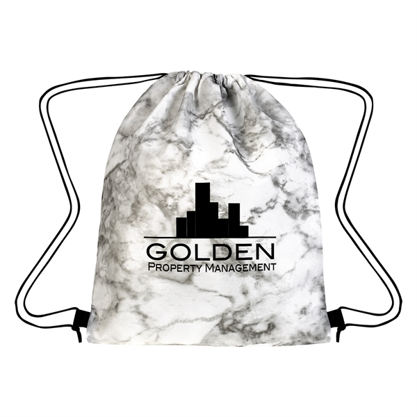 Marbled Non-Woven Drawstring Bag