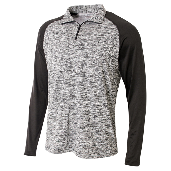 A4 Adult Space-Dye 1/4 Zip with Contrast Sleeve