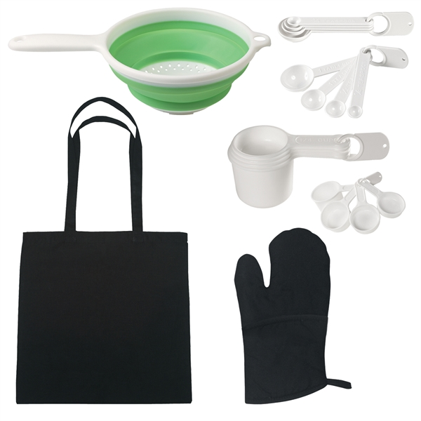 Chef's Essentials Kit - Kit includes: tote bag, quilted pot holders, collapsible strainer, measuring cups, measuring spoons.