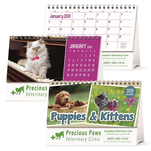 Puppies & Kittens Desk 2020 Calendar