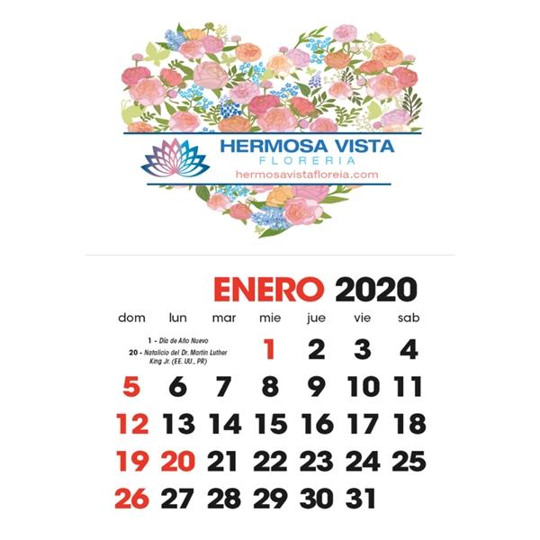 Full Color Stick Up Spanish Grid 2020 Calendar