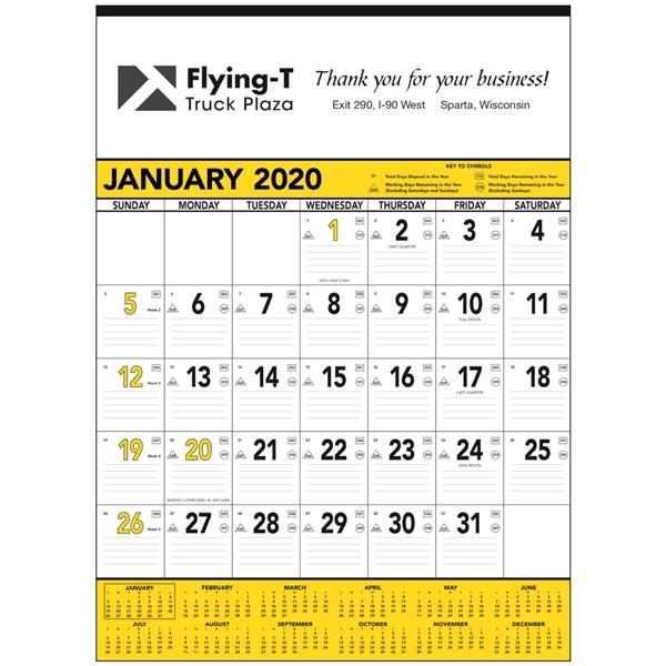 Yellow & Black Contractor's Memo 2020 Calendar