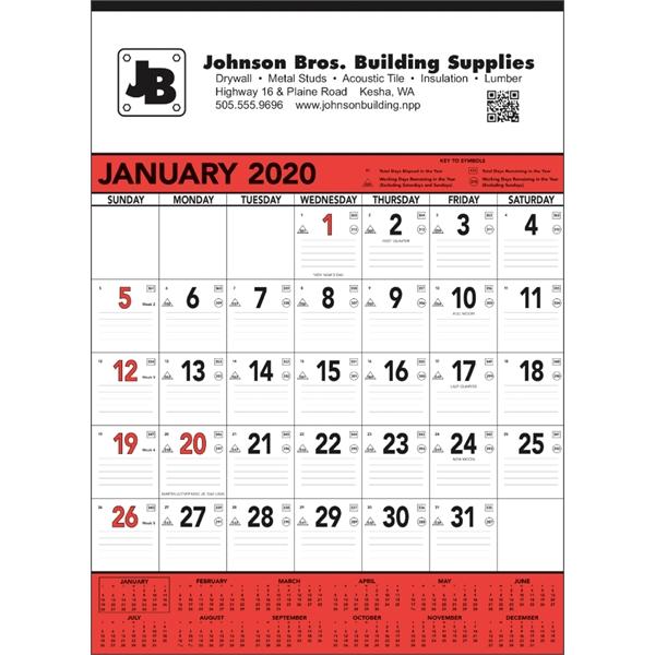 Red & Black Contractor's Memo 2020 Calendar