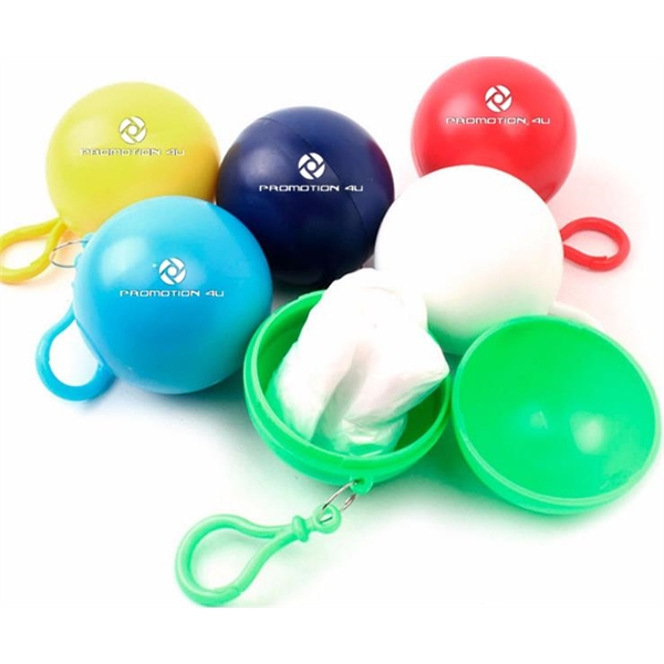Disposable Poncho Ball Key Chain