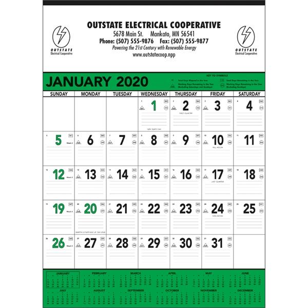 Green & Black Contractor Memo 2020 Calendar