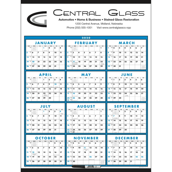 Span-A-Year - Laminated with Marker 2020 Calendar