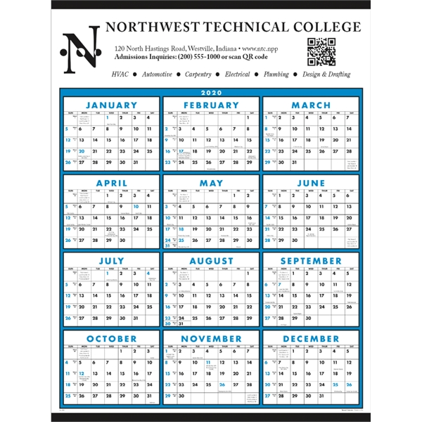 Span-A-Year Non-Laminated 2020 Calendar