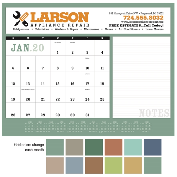 Notes 2020 Desk Calendar Pad