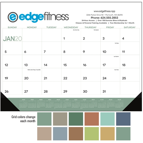 Desk Pad with Vinyl Corners 2020 Calendar
