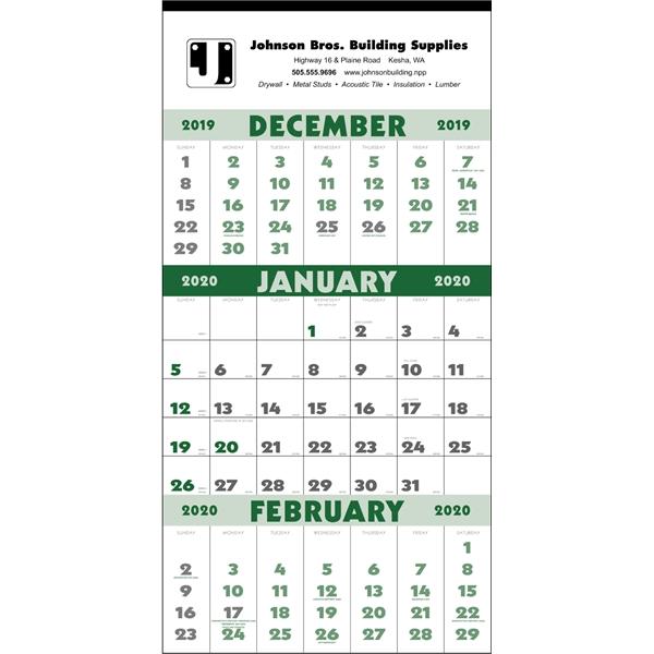 3-Month Planner 2020 Calendar - 12-Sheet