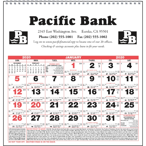 Small Almanac 2020 Calendar
