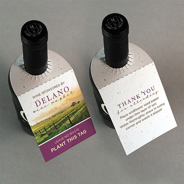 Seed Paper Wine Bottle Tag Without Fold - Double Sided