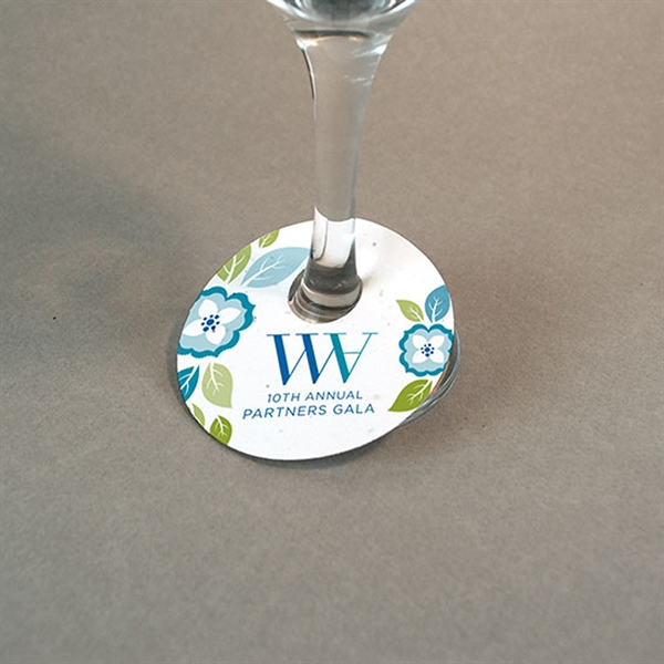 Seed Paper Wine Glass Tag - Single Sided