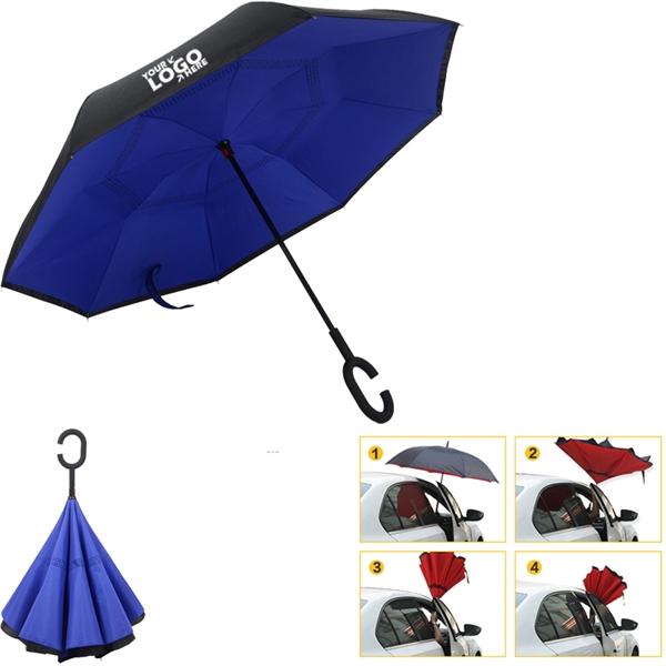 Reverse Folding C- Holder Umbrella MOQ 50PCS