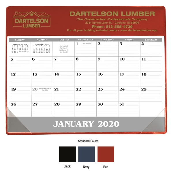 Small Vinyl Desk Pad 2020 Calendar