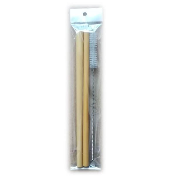 2 bamboo straws with 1 brush