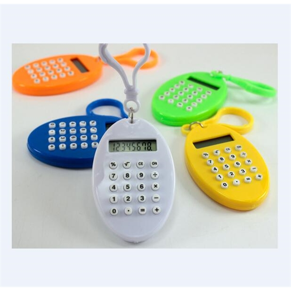 Oval Shaped 8 Digits Calculator keyring