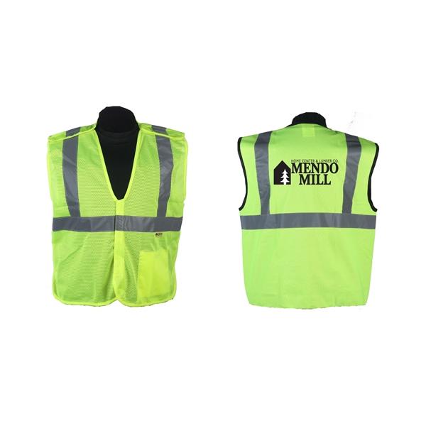 Green safety vest, ANSI class 2, (med-5xl)