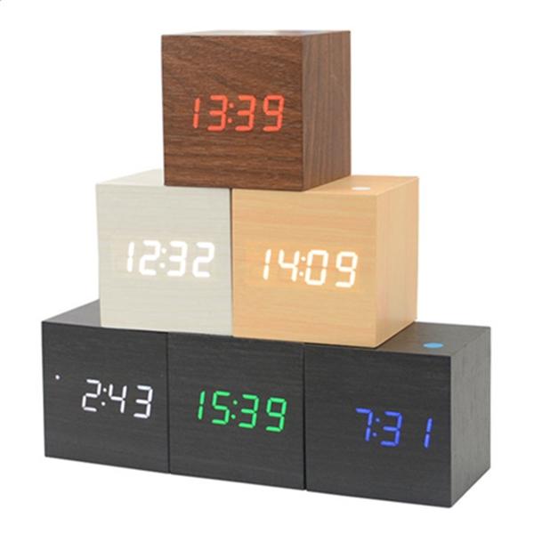 Mini LED Wood Digital Cube Desk Alarm Clock