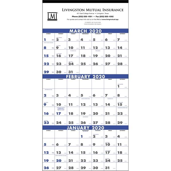 3-Month Planner 4-Sheet 2020 Calendar